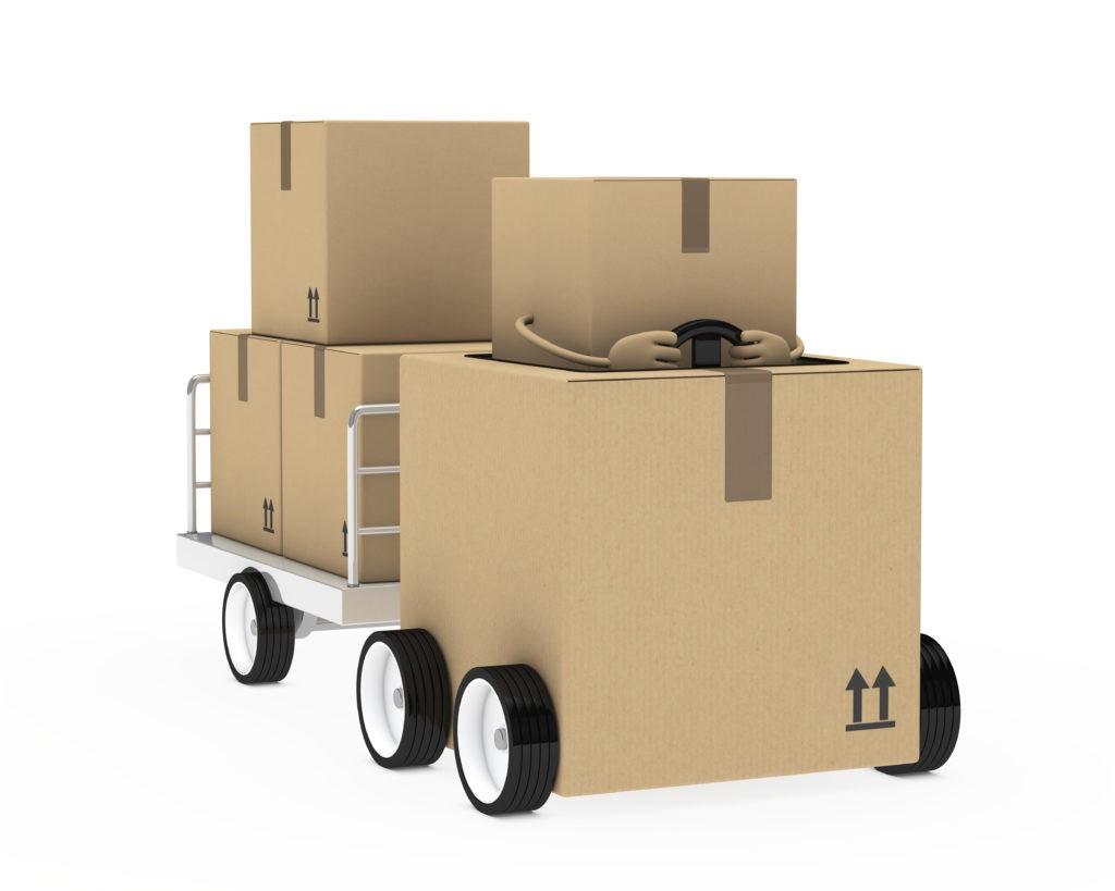 棕色包装图拉一个金属拖车