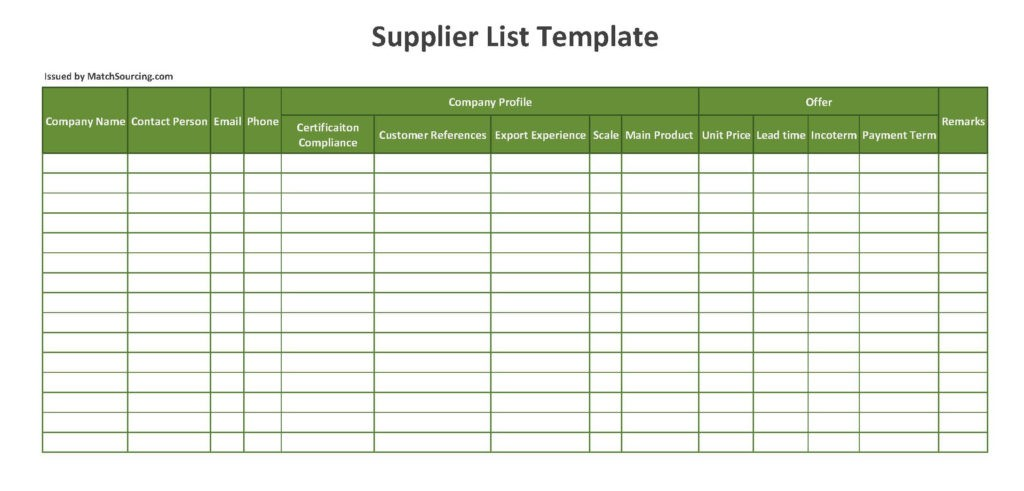 supplier-list-template
