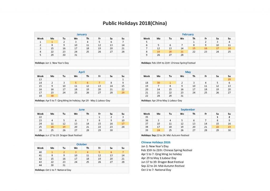 Chinese public holidays 2018