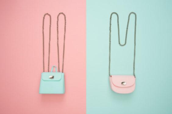 Fashion Handbags on Pastel Backgrounds